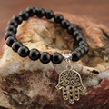 Natural Stone Beads Bracelets Black Stone Hand Pendant Woman Man Charm Bracelet Fashion Accessories