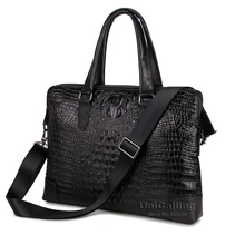 UniCalling fashionable crocodile real leather-based males purse males leather-based briefcase leather-based laptop computer bag 15″ douple zipper layers area