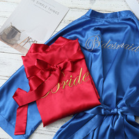 Free Shipping 5pcs lot Embroidery logo Wedding Hen party Personalized Bride Bridesmaid gift Satin Robes