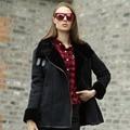 Veri Gude Winter Faux Fur Coat Faux Leather Jacket Fleece Collar Buckle Tab