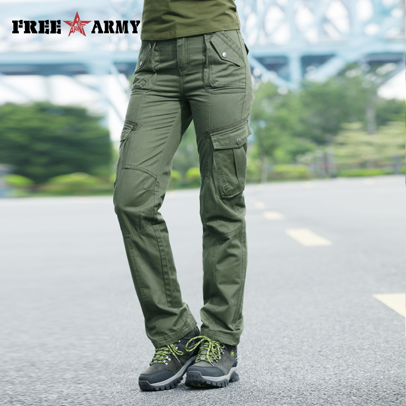 Image 3 - FreeArmy Brand Autumn Pants For Women Army Pants Military  Sweatpants Pockets Cargo Pants Straight Trousers Womens ClothingPants