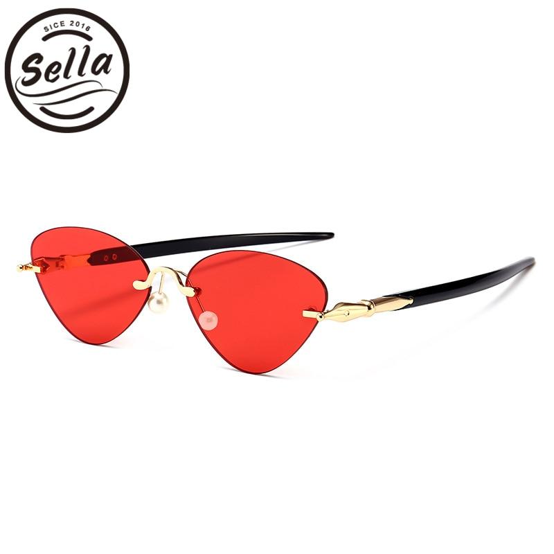 Sella 2018 New Fashion Small Cateye Rimless Sunglasses Brand Designer Men Women Candy Color Tint Lens Pen Legs Glasses Eye Wear