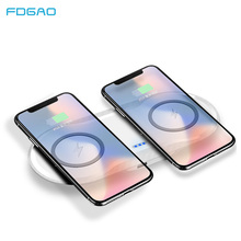 FDGAO 5W QI wireless charger pad 2in1 for iPhone X XR XS Samsung Galaxy S9 Plus Note 8 9 Dual Induction Charging Device