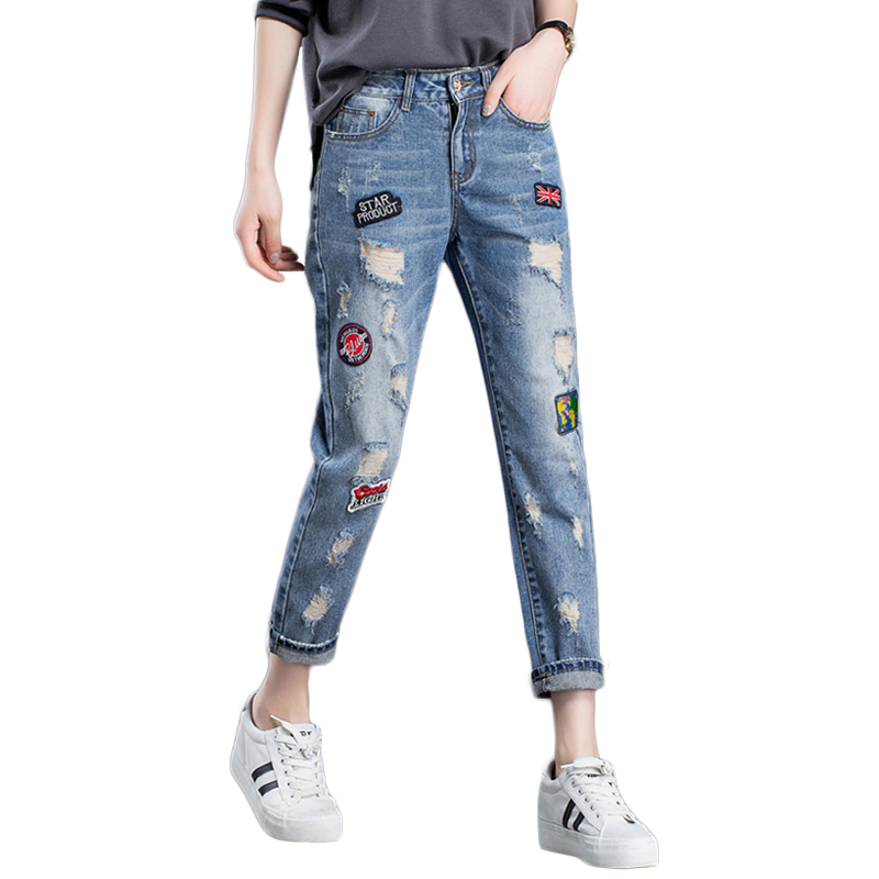 High Quality New Style Embroidery And Appliques Jeans Ladies Hole Harem Pants Female Summer Casual Loose Mid Waist Denim Pants new summer vintage women ripped hole jeans high waist floral embroidery loose fashion ankle length women denim jeans harem pants