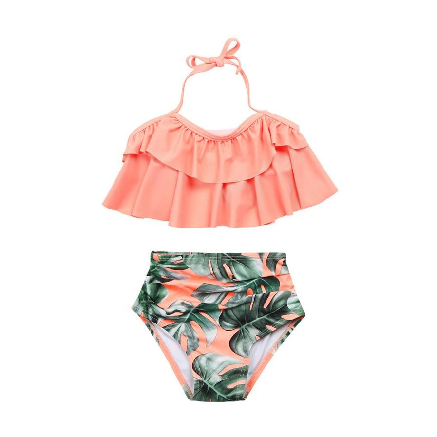 2018 new baby girls two pieces set little girl 2pcs ruffle halter swimwear bathing suit swimsuit sets kids clothes