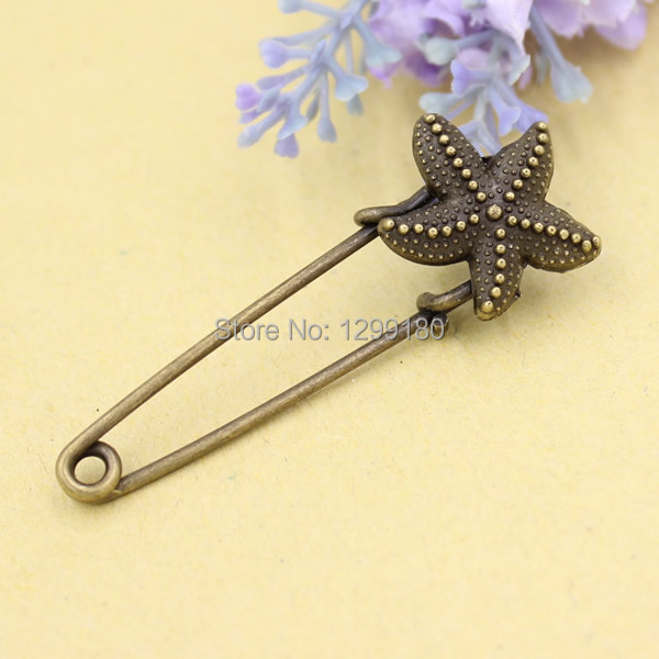 10pcs/lot Alloy Antique Bronze Vintage Flower Brooch Safety Pins For Garment Accessories Scarf Clip pins Length:55mm (K02072)