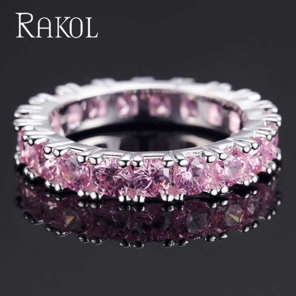 RAKOL Top New Fashion AAA Cubic Zircon Baguette Finger Rings Copper Base for Women Wedding Jewelry Gift RR146K in Wedding Bands from Jewelry Accessories