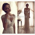 Vestido De Noiva 2017 Sheath V-neck Cap Sleeves Ivory Backless Vintage Wedding Dresses Wedding Gown Bridal Dress Bridal Gown