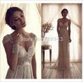 Vestido De Noiva 2017 la Vaina V-cuello Mangas Casquillo de Marfil Backless Vestidos de Novia Vintage Vestido De Novia Vestido de Novia vestido de Novia