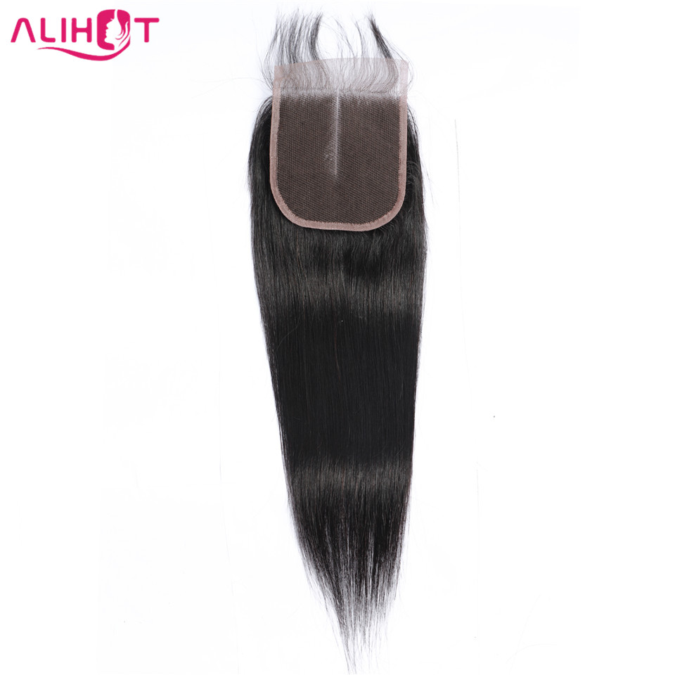 Lace Closure Human-Hair 10-22inch Straight Non-Remy Natural-Color Free/middle/three-part