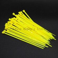 100 шт./упак. 3*100 мм ширина 2,5 мм желтый завод Стандартный самоблокирующийся Пластик нейлоновые кабельные стяжки, кабельные хомуты
