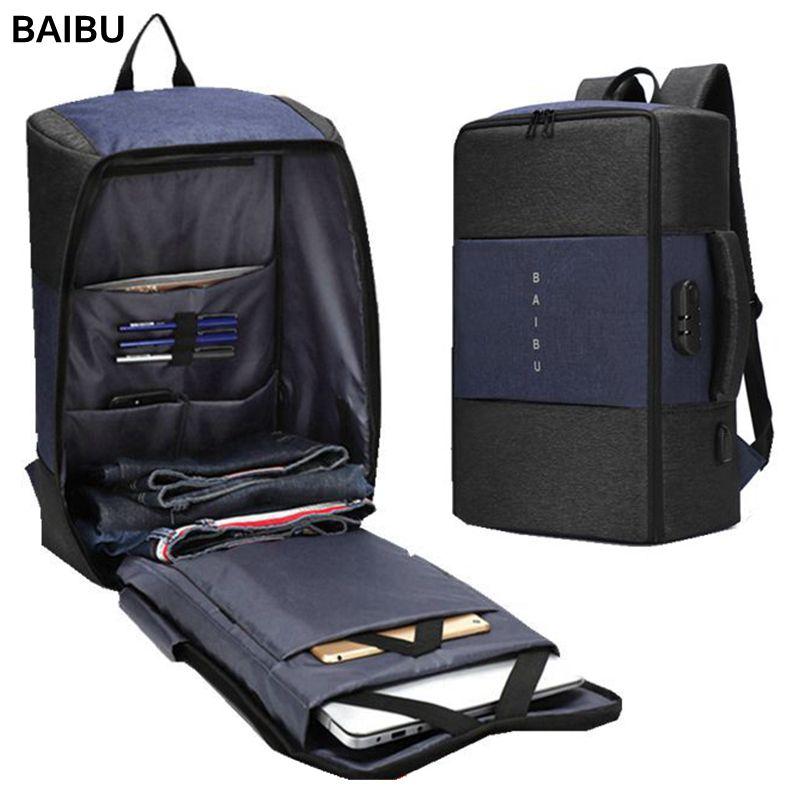BAIBU Men Backpack High capacity 15 6 17 inch Laptop Backpack Multifunction USB Charging Travel Bag