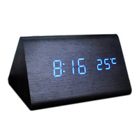 Voice Control Calendar Thermometer E Wood Wooden LED Digital Alarm Clock USB AAA Black Wood