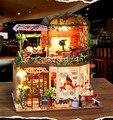 Творческие DIY миниатюрная вилла комплект модель деревянная кукла дом, Уникальный большой размер дом игрушки с мебелью девушки подарок