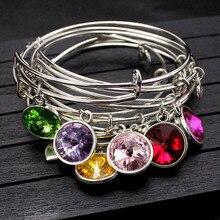 Adjustable Rhinestone Crystal Birthstone Bangle Bracelet