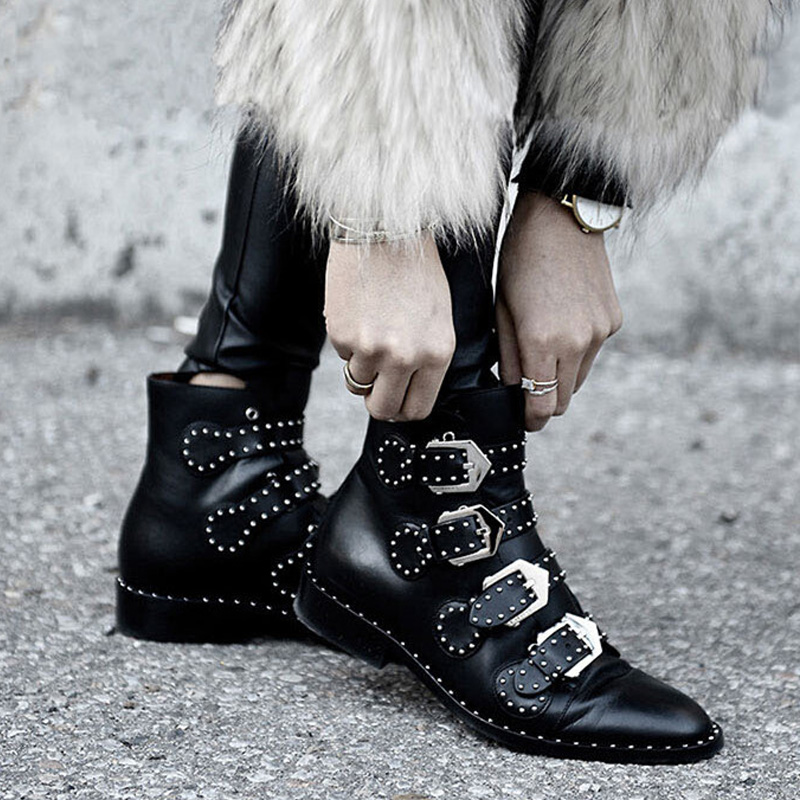 Women Martin Boots 2017 Autumn Winter Punk Style Shoes Female Genuine Leather Rivet Retro Black Buckle Motorcycle Ankle Booties children s shoes autumn winter kids martin boots girls fashion leather boots boys motorcycle boots shoes child warming shoes