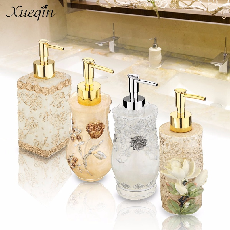 Xueqin Free Shipping 3D Flower Bathroom Home Hotel Liquid Soap Dispenser Sanitizer Resin Pump Lotion Shampoo Container Bottle