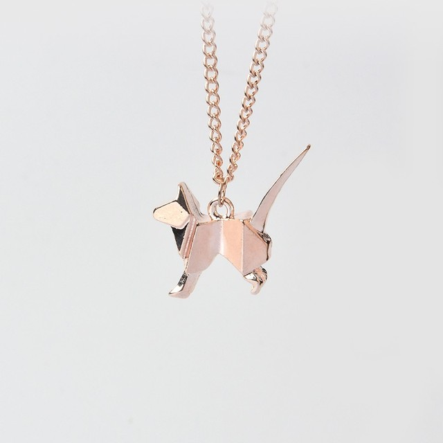 Origami Kitty Silhouette Necklace Minimalist