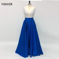 Long Prom Dresses 2018 A Line Deep V Neck Beaded Satin Royal Blue Women Formal Party