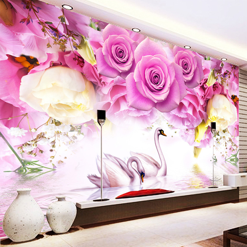 Photo Wallpaper Modern Purple Rose Swan Fashion 3D Wall Mural Living Room Bedroom Home Decor Wall Papers Papel De Parede 3D Sala modern crystal chandelier light living room decoration crystal pendants and chandeliers home lighting indoor lamp e14 led candle