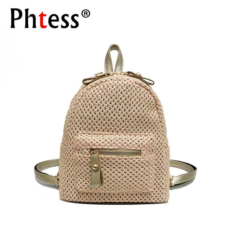 Small Straw Backpacks For Teenage Girls 2018 Women Summer Knit Backpack High Quality Sac a Dos Ladies Bagpack Female Back Pack