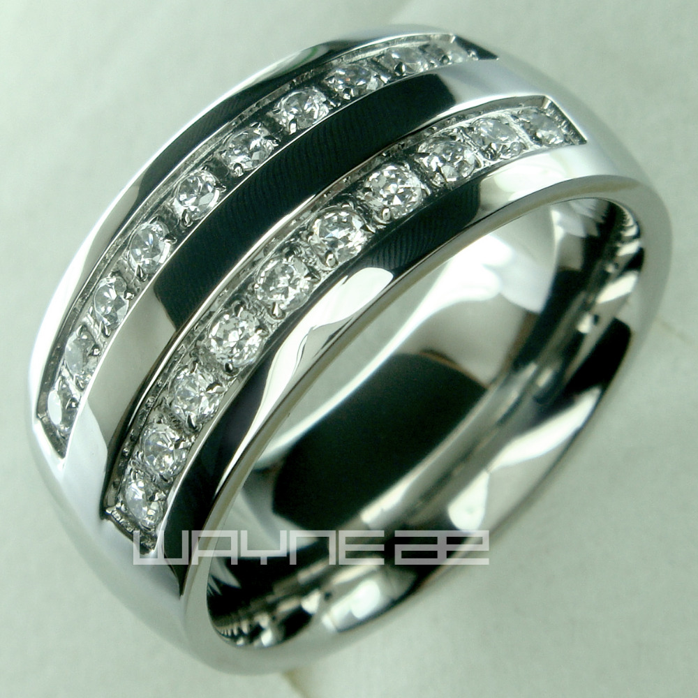 His Mens Stainless Steel Wedding Engagement Ring R178A