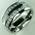 Sus hombres de acero inoxidable anillo de compromiso de boda (R178A) Tamaño 8 9 10 11 12 13 14 15