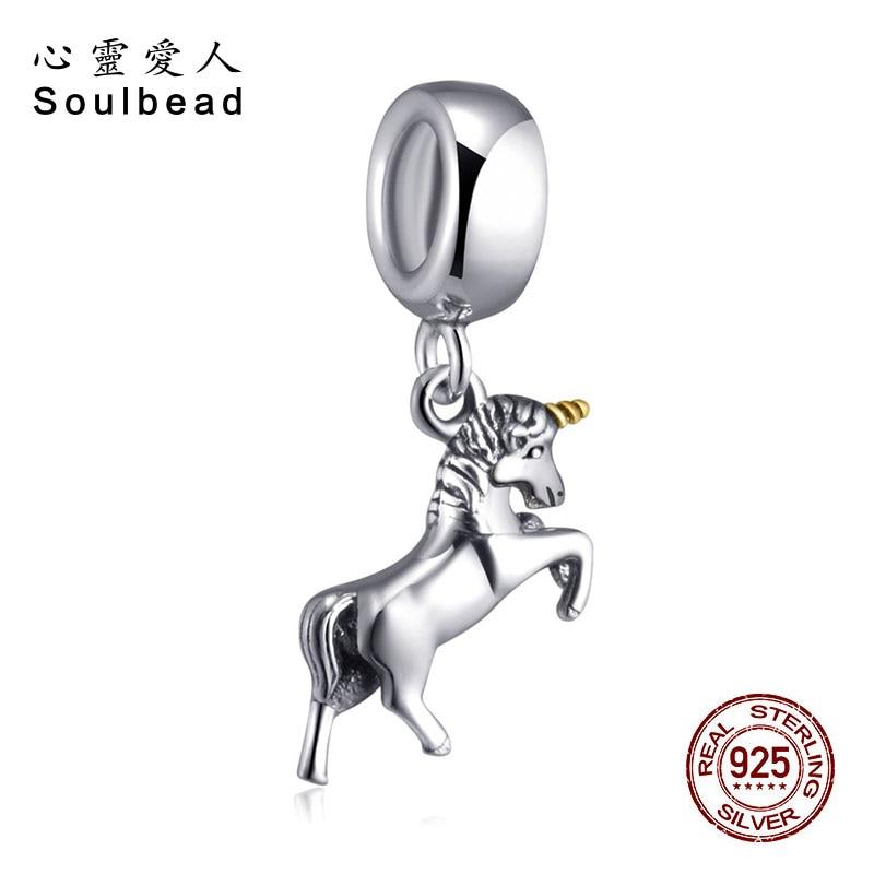 Soulbead Antique Sterling Silver Dangle Unicorn Charm European Style Fit Pandora Charms Bracelets DIY Jewelry Beads SS2767