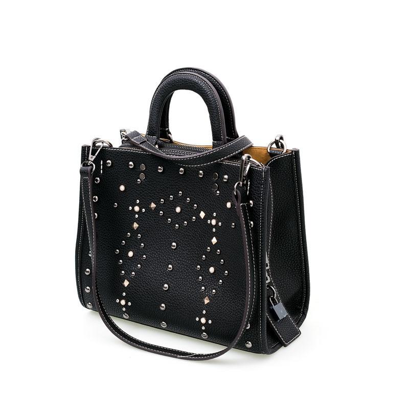 ФОТО 2017 new women  PU leather fashion bag retro  Rivets bag  handbag