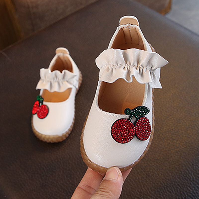 Spring Baby Girl Shoes Breathable Rhinestone Cherry Anti-Slip Shoes Casual Sneakers Toddler Soft Soled First Walkers Super