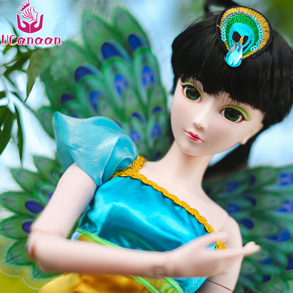 UCanan 1/3 Large BJD/SD Doll Peacock Fairy Beautiful Handmade Dress Up Suitable For Yourself DIY Change Flexible Joints 25cm 100cm doll wigs hair refires bjd hair black gold brown green straight wig thick hair for 1 3 1 4 bjd diy