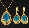 Moda de nova jóias pingente de colar brinco set e cadeia 18 K real banhado a ouro melhor qualidade conjuntos de jóias mulheres africanas azul