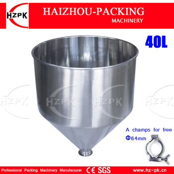 HZPK 304 316 Stainless Steel Hopper Use With Paste Filling Machine 30 Liters Volume Can For Honey Chili Paste Water Drinks 40 L