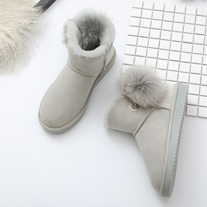 100% Genuine Sheepskin Leather Natural Fur Winter Boots Warm Wool Women Boots Classic Snow Boots Women Shoes Lady Ankle Shoes
