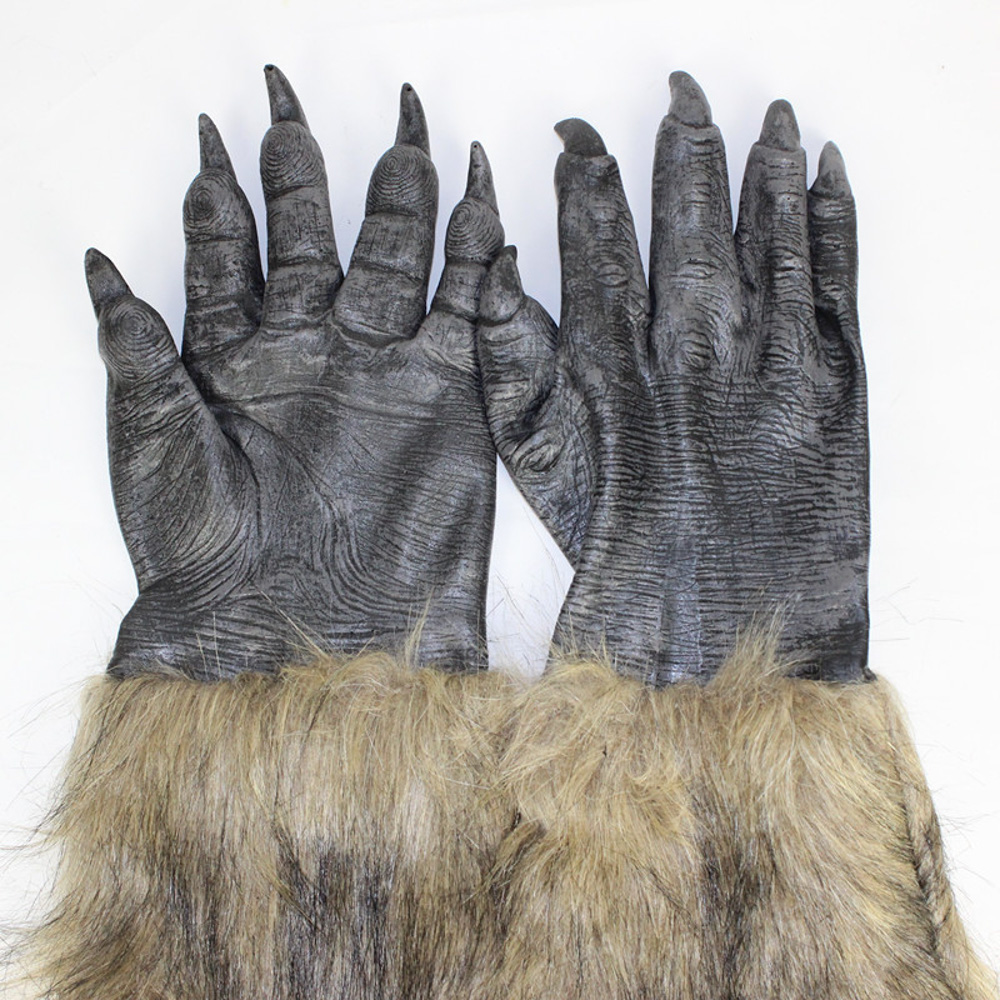 THEE One Pair Wolf Paws Claws Halloween Cosplay Gloves Creepy Costume Party