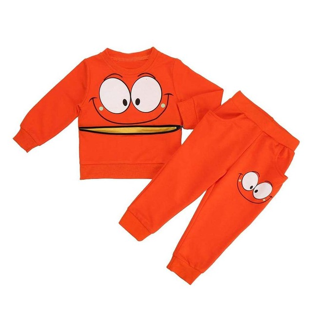 Criança grandes olhos sorriso zipper camisolas de manga longa terno pedaço orange 6 t (idade: 5-6a)