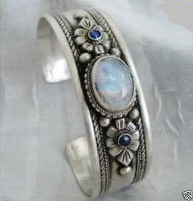 Unisexe tibet argent opale lapis perles bracelet manchette