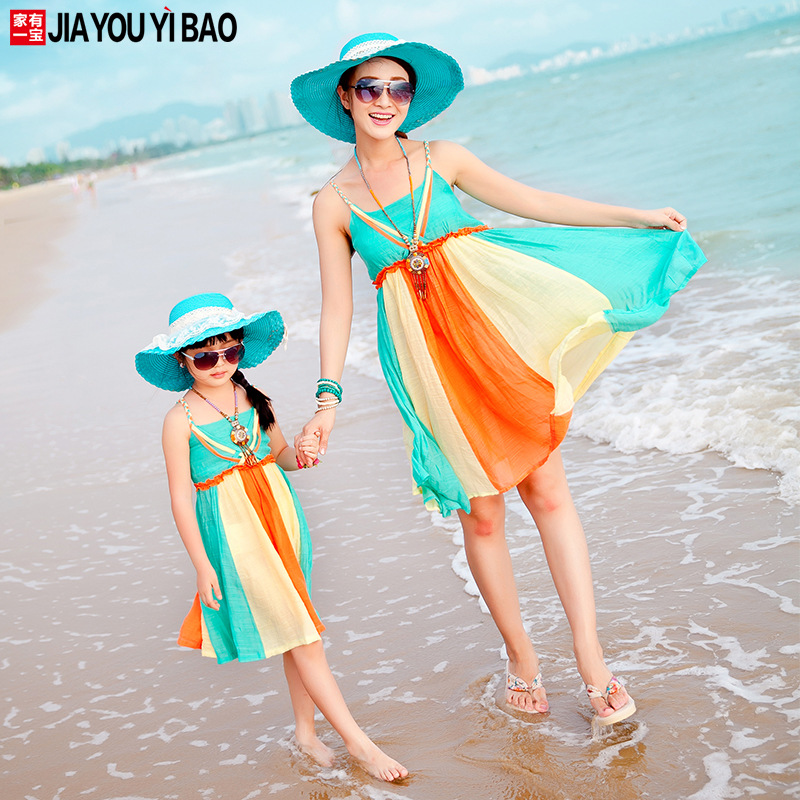 Parent child outfit girls dress with shoulder straps dress chiffon mother and daughter of beach dresses