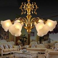 American Retro Классический Медный люстра Европейский меди лампы гостиной столовой исследование абажур светильники AP4181143