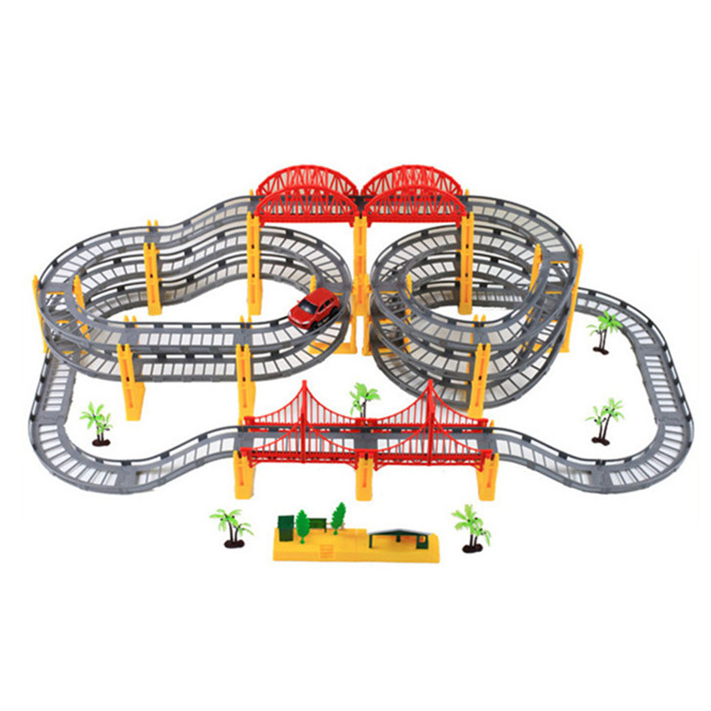 Kids Multilayer Electric Rail Car Construction Vehicles Toy Assembled Puzzle Train Track Building Blocks Educational Toys Gift urban construction military base theme track assembled car railway toy portable backpack model building kits gifts children toys