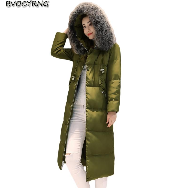 New Winter High Quality White Duck Down font b Women b font Coat Heavy Hair Collar