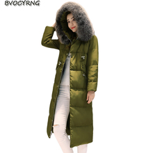New Winter High Quality White Duck Down Women Coat Heavy Hair Collar Thickening Warm Jacket Girls Temperament Long Parka Q823