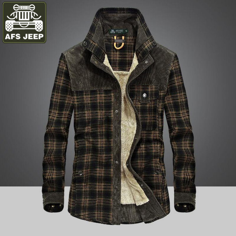 AFS JEEP Shirt Men Winter Thick Warm Fleece Casual Shirts 100% Cotton Plaid Long Sleeves Shirt Men Camisa Masculina Camisetas
