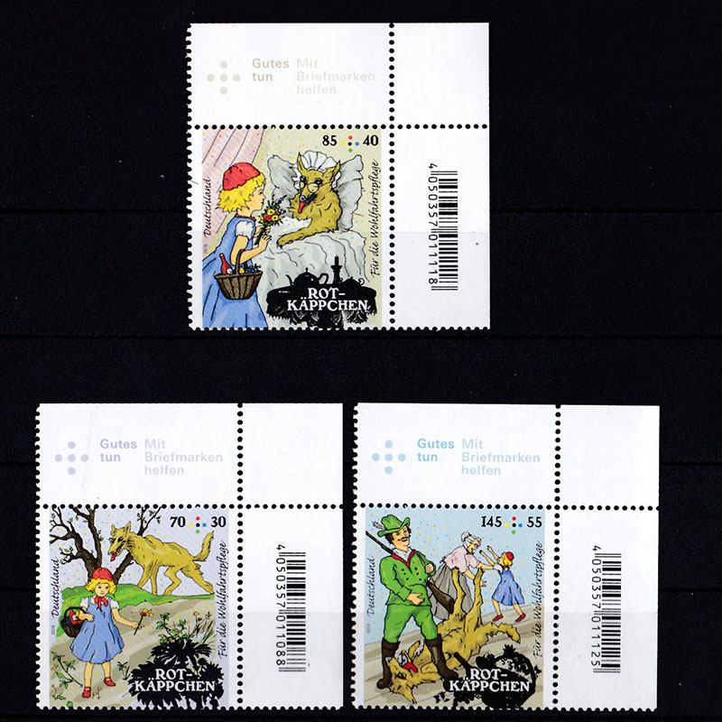 3 pieces/set Germany postage stamps 2016  Rotkappchen Im Wald GroButter Gutes Cartoon