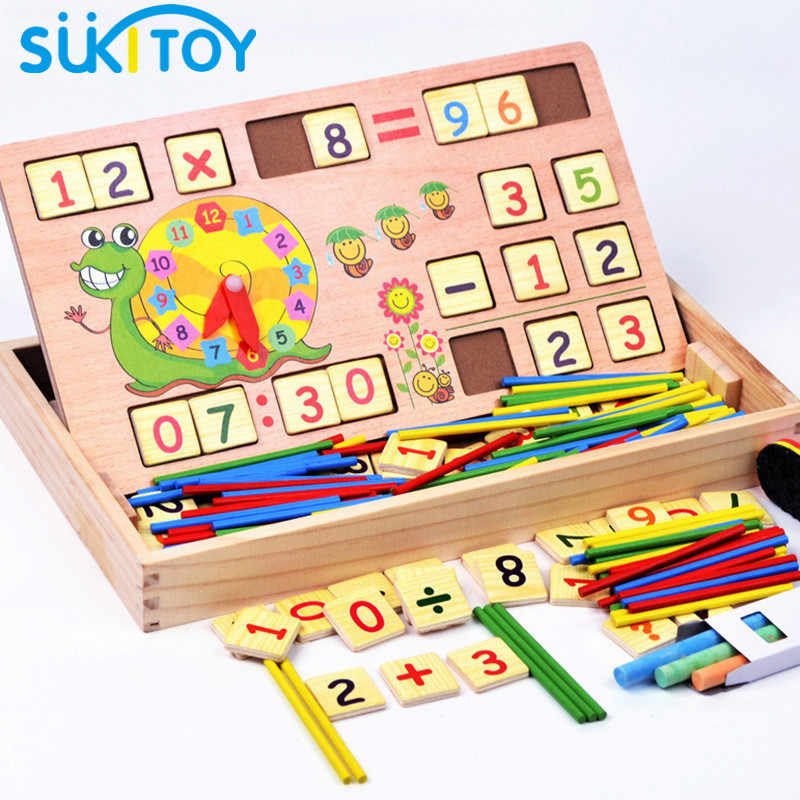 SUKIToy Classic Math Houten Speelgoed inclusief 100 STKS Sticks 70 STKS Nummer kaart Hout Doos Vroeg educatief Montessori 32*18.5*4 cm