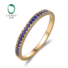 Caimao Jewelry 0.22ct  Natural Saaphires 14k Yellow Gold Half Eternity Engagement Ring