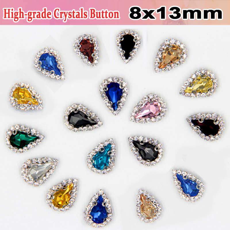 8x13mm goutte d'eau haut de gamme verre matériel strass stenen naaien couture sur strass boutons pour décorations de robe de mariée