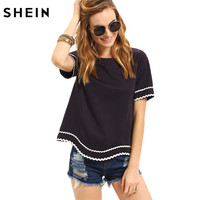 SheIn Women 2016 New Arrival Fashion Tops Ladies Tee Shirts Crew Neck Navy Waved Print Trim