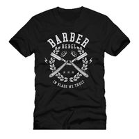 Funny Short Sleeve Cotton T Shirts Barber Rebel In Blade We Trust Cut Throat Printed T