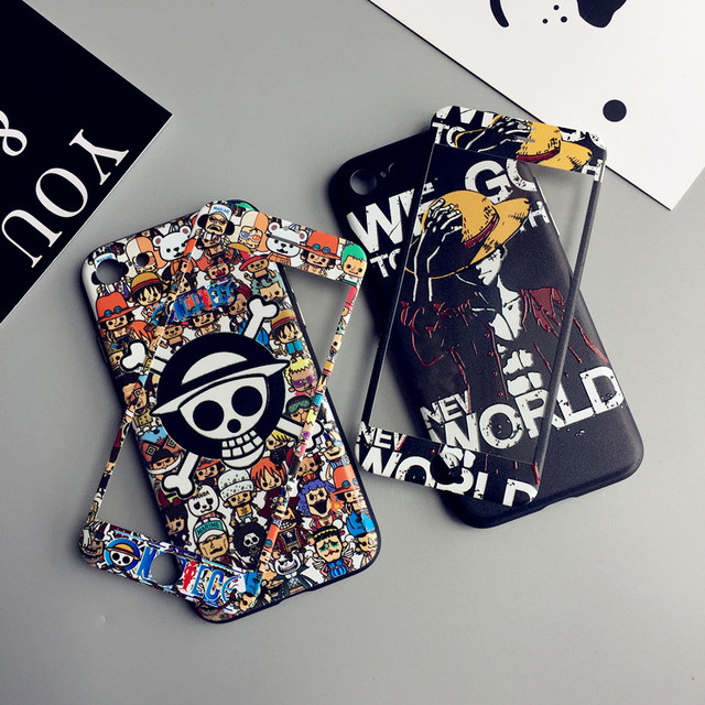 Luffy For iPhone 7 plus embossed case +front tempered glass   film for iPhone 7 8 6 6s plus phone cases soft protect fundas